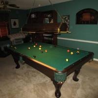 Olhausen Pool Table With Light and Wall Rack